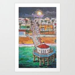 moon on Manhattan Beach Art Print