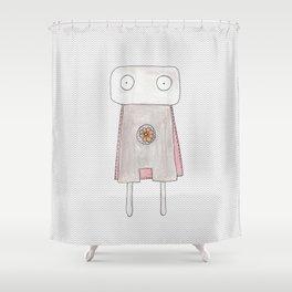 Robot superhero Shower Curtain