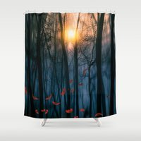 forest Shower Curtains featuring Red feather dance  (colour option) by Viviana Gonzalez