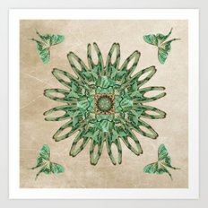 Luna Moth Circle  Art Print