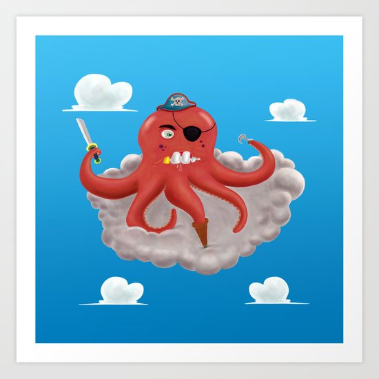 Pirate Octopus Art Print