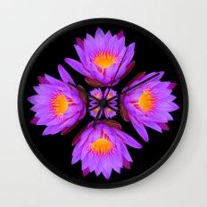 Purple Lily Flower - On Black Wall Clock