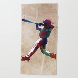 Baseball player 10 #baseball #sport Beach Towel