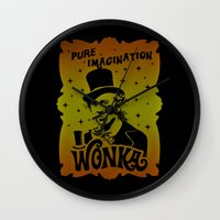 willy wonka Wall Clocks featuring Gold Ticket by Buby87