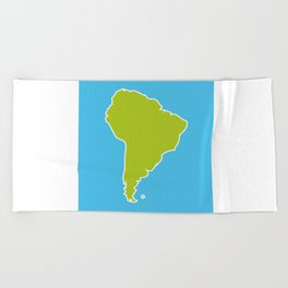 South America map blue ocean and green continent. Vector illustration Beach Towel
