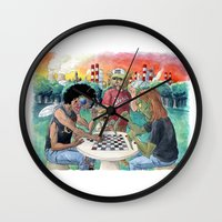 league Wall Clocks featuring Mutant League Checkers by Justin Smith