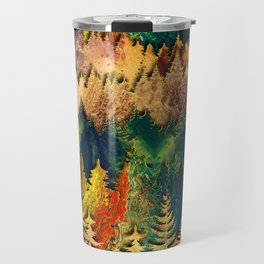 Abstract Mountain Landscape  and forest Digital Art Travel Mug