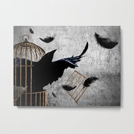 Crow Caged No More Raven Breaking Free Surreal Art A192 Metal Print