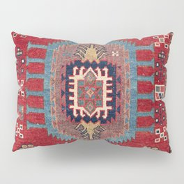 Tribal Honeycomb Palmette II // 19th Century Authentic Colorful Red Flower Accent Pattern Pillow Sham