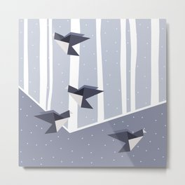 Elegant Origami Birds Abstract Winter Design Metal Print