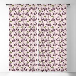 Realistic aronia berry illustration Seamless repeating pattern Blackout Curtain