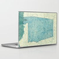 alabama Laptop & iPad Skins featuring Alabama State Map Blue Vintage by City Art Posters