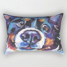 Berner Bernese Mountain Dog Portrait Pop Art painting by Lea Rectangular Pillow