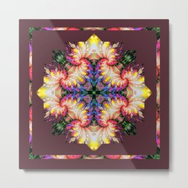 Kaleidoscope No.33 - Frilly Depths in Technicolour Metal Print