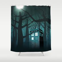 dumbledore Shower Curtains featuring Tardis in the Forest of The Night by neutrone