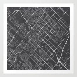 Brampton Map, Canada - Gray Art Print