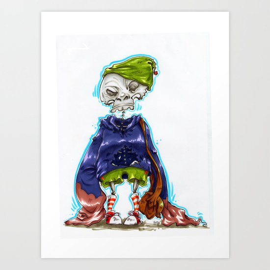 Skinny Skeleton Kid Art Print