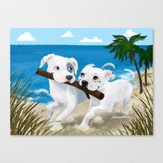 Pit Bull Sharing Canvas Print