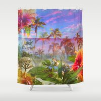 hawaiian Shower Curtains featuring HAWAIIAN ESCAPE  by Lauren Taylor Creations