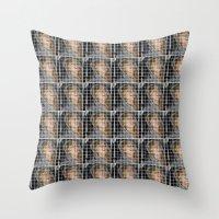 lindsay lohan Throw Pillows featuring Lohan by Rude Lewd & Crude