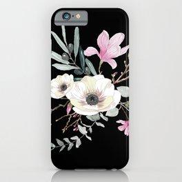 Floral bouquet black iPhone Case