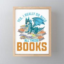 Dragon Reading Books Framed Mini Art Print