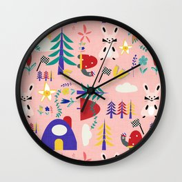 Tortoise and the Hare is one of Aesop Fables pink Wall Clock