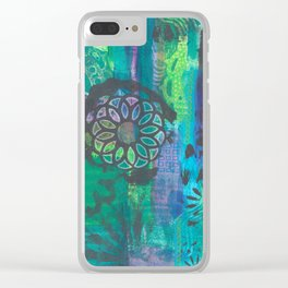 Kalediscopic Peacock Clear iPhone Case