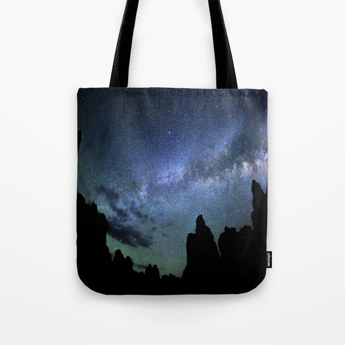 Milky Way Mountains Silhouette Tote Bag