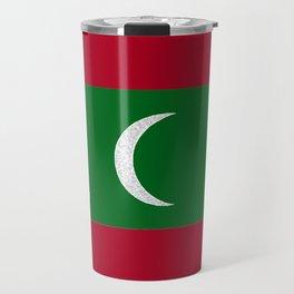 Maldives Flag with Map of the Maldive Islands Travel Mug
