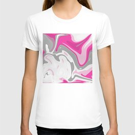 Grey and Pink Liquid Marble Effect Design T-shirt
