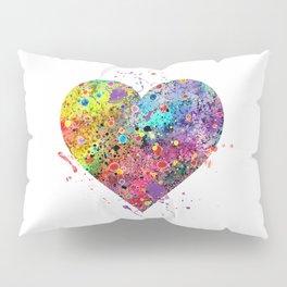 Heart Watercolor Art Love Gift Valentine's Day Gift Wedding Art Engagement Gift Pillow Sham