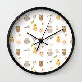 Cute Owls and Autumn Leaves Pattern Wall Clock