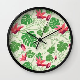 Tropical Pattern in Pink and Green Wall Clock