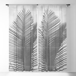 Tropical Palm Leaf Black and White Sheer Curtain
