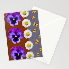 BROWN & PURPLE PANSY WHITE DAISY BUTTERFLIES SPRING Stationery Cards