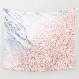 She Sparkles Rose Gold Pink Marble Luxe Geometric Wall Tapestry