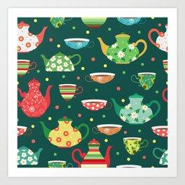 Tea pattern Art Print