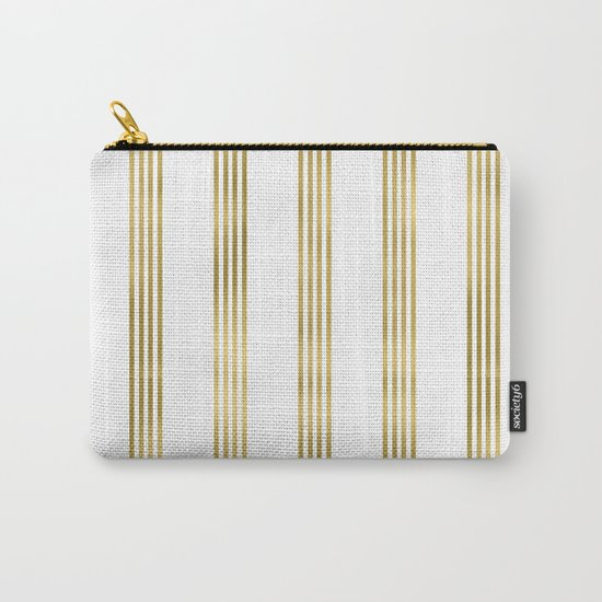 Gold small stripes on clear white - vertical pattern Carry-All Pouch