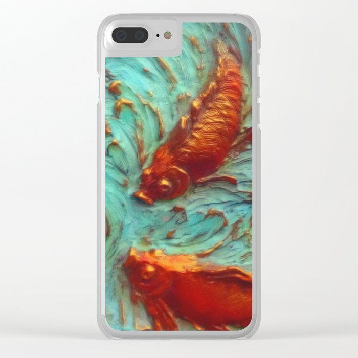 DIMENSIONAL PURPLE IRIS FLOWERS & GOLDEN KOI FISH Clear iPhone Case
