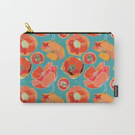 Turquoise California Poppies Carry-All Pouch