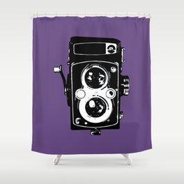 Big Vintage Camera Love - Black on Purple Background Shower Curtain