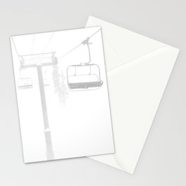 Mountain High // Riding the Chairlift Copper Mountain Colorado Foggy Snow Climb Stationery Cards