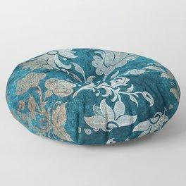 Aqua Teal Vintage Floral Damask Pattern Floor Pillow