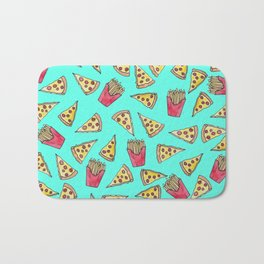 Pepperoni Pizza French Fries Foodie Watercolor Pattern Bath Mat