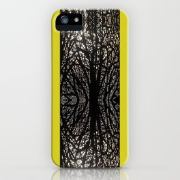 Gothic tree striped pattern mustard yellow iPhone Case