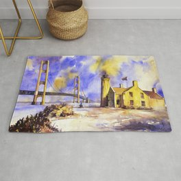 Watercolor painting of Mackinaw Bridge and lighthouse- Mackinaw Island, Michigan Rug