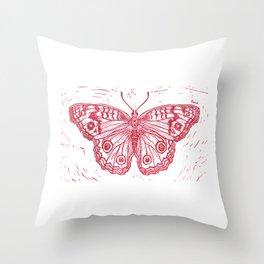 Linocut Red Junonia coenia buckeye butterfly Throw Pillow