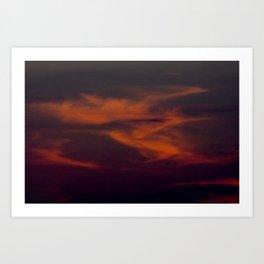 storm annoucement at sunset Art Print