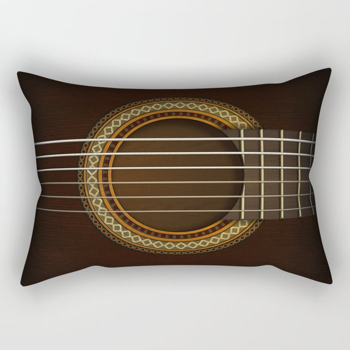 Full Guitar Black Rectangular Pillow